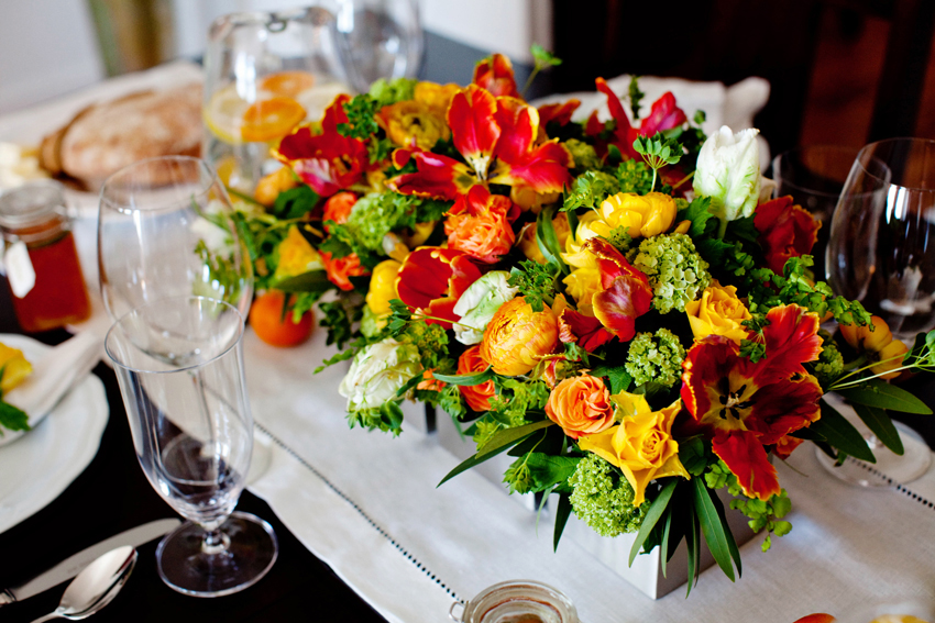 Yellow And Orange Citrus Theme Flowers Wedding Centerpiece