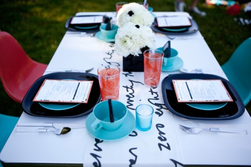 80s Wedding Ideas Retro Blue Red and Black Tabletop