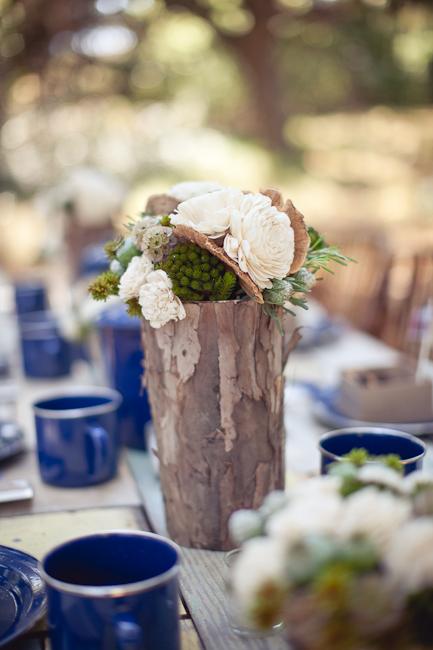 Bark covered vase rustic wedding centerpiece elizabeth