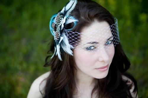 Blue Feather Birdcage Veil