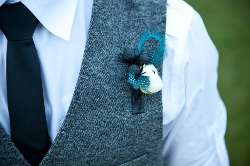 Blue Feather Boutonniere