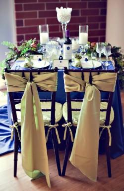 Blue and Champagne Wedding Table