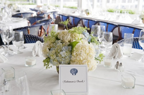 Blue and White Hydrangea Centerpiece