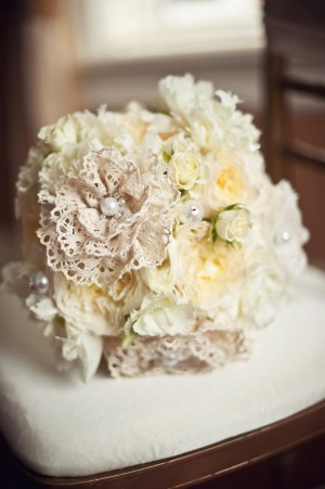 Bouquet with Fresh Flowers and Lace Flowers