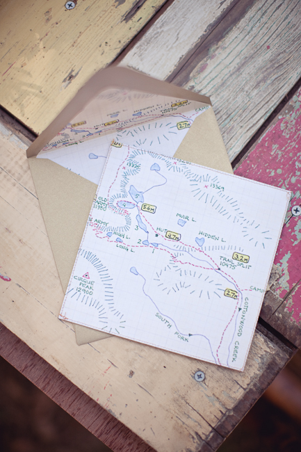 camping theme trail map wedding invitation - Camping Wedding Invitations