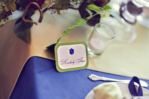 Champagne and Royal Blue Wedding Tabletop