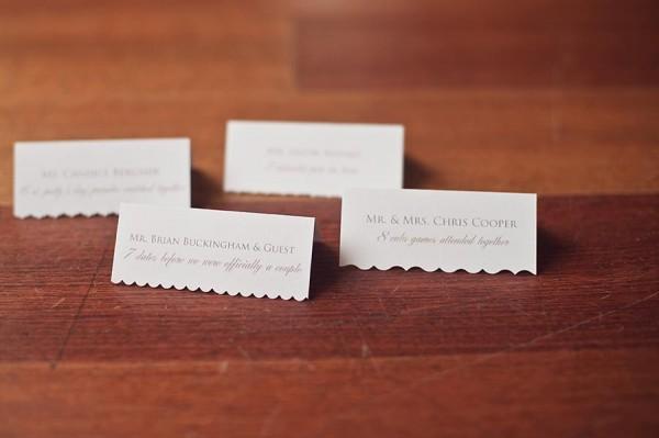 Escort Cards Cut with Decorative Scissors