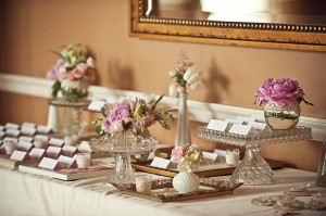 Gold and Pink Vintage Escort Card Display Table