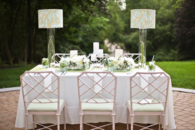 Light Blue And Sage Green Wedding Tabletop Elizabeth Anne Designs