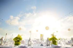 Lime Green and White Beach Wedding