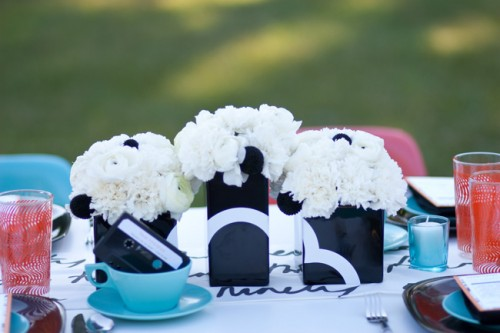 Modern Black and White Centerpieces