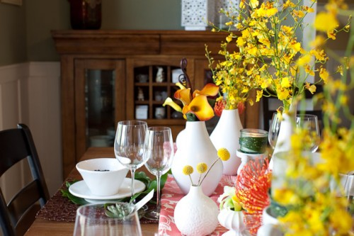 Modern Coral Yellow and White Centerpiece