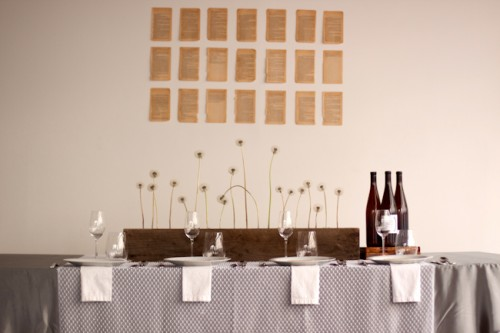 Modern Gray Brown and White Table Wedding Color Palette