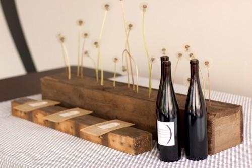 Modern Urban Wedding Ideas Dandelion Centerpiece