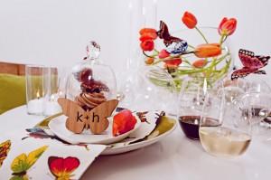 Modern Wedding Centerpiece Tulips and Butterflies