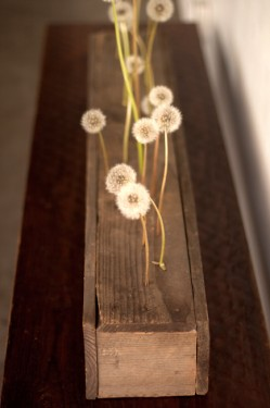 Modern Wood Centerpiece with Dandelions