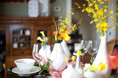Modern Yellow and White Centerpiece
