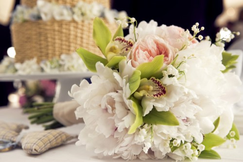 Orchid Pink Peony White Bouquet