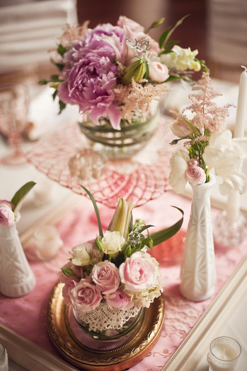 Pink depression glass wedding centerpieces elizabeth