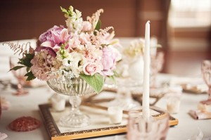 Pink-Garden-Rose-Centerpiece