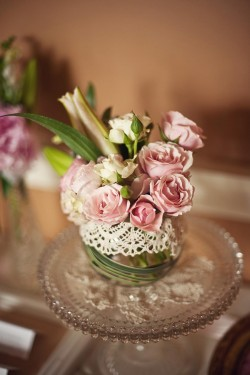 Pink Roses in Lace Wrapped Vase