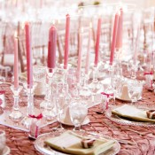 Pink Taper Candle Centerpiece