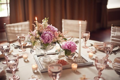 Pink and Champagne Vintage Tabletop Wedding Tablescape Ideas