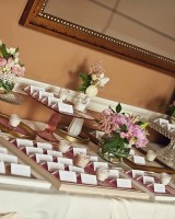 Pink and Gold Escort Card Table