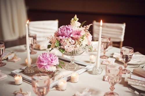 Pink and Gold Wedding Centerpiece Ideas