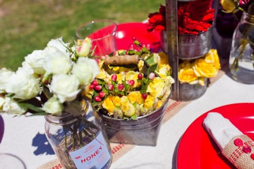 Red and Yellow Wedding Tabletop