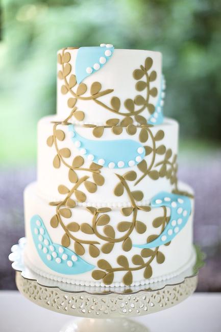 Wedding Cake Designs Blue And Green : Retro Blue and Green Wedding Cake - Elizabeth Anne Designs ...