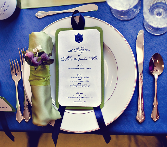 Royal Blue and Champagne Place Setting - Elizabeth Anne Designs ...