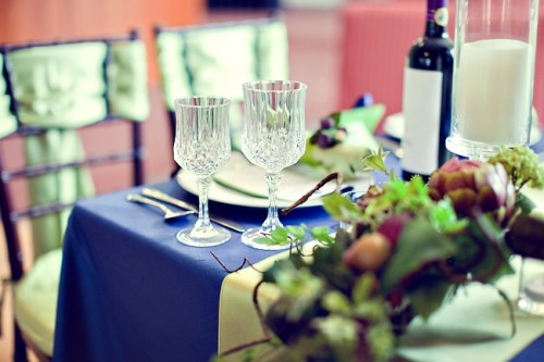 Royal Blue and Champagne Tabletop