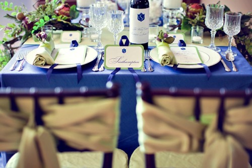 Royal Blue and Champagne Wedding Tabletop
