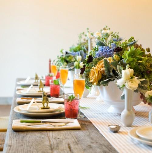 Rustic Peach and Blue Table Wedding Ideas