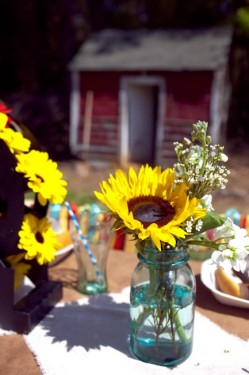 Sunflowers in Blue Mason Jars