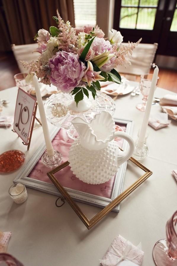 Unique wedding centerpieces milk glass and picture frames