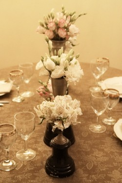 Vintage Pink and Gold Centerpiece