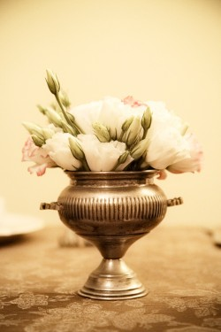 Vintage Pink and Silver Centerpiece