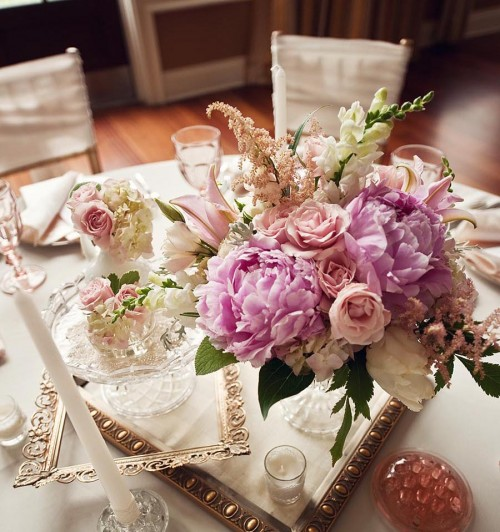Vintage Purple and Pink Centerpieces