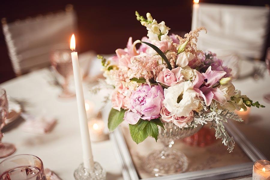 Wedding centerpiece in vintage glass vase elizabeth anne