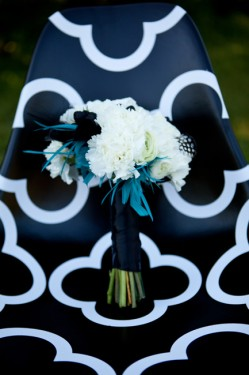 White Bouquet with Blue Feathers