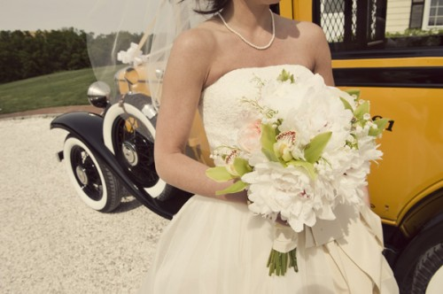 White Peony and Orchid Bouquet