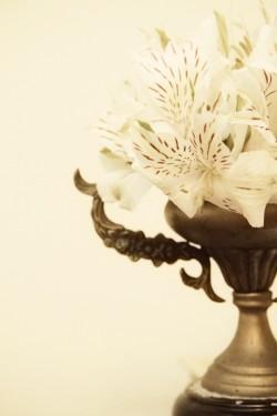 White and Pink Alstroemeria Centerpiece