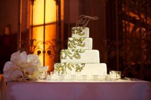 Ana Paz Four Tier Modern Gold Wedding Cake