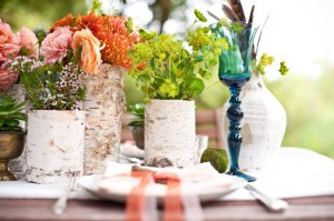 Birch Bark Covered Vases
