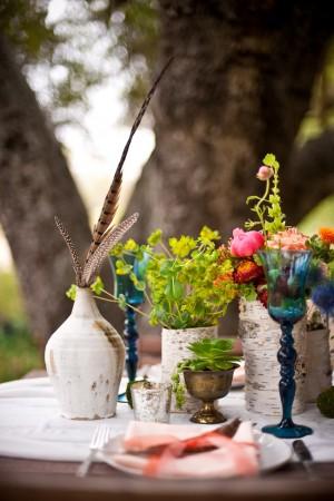 Birch Bark Covered Vases Wedding Centerpiece