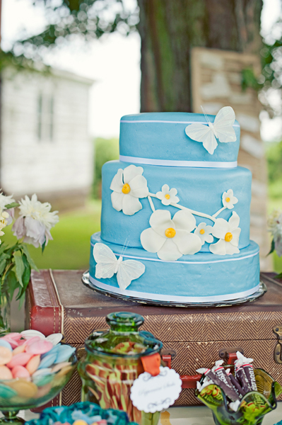 Blue Cake with Daisies