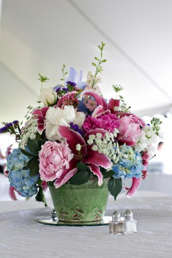 Blue Hydrangea Low Wedding Centerpiece