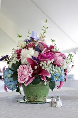 Blue Hydrangea Low Wedding Centerpiece